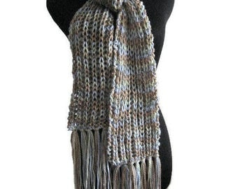 Taupe, Light Green and Blue Knit Scarf Vegan Knits Knitted Scarf  Accessories Winter Scarf