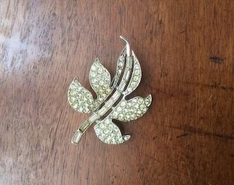 Vintage Art Deco Rhinestone Rhodium Plated Leaf Pin