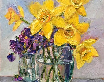 Original Oil Painting,flowers, floral art, yellow, daffodils, oil painting, palette knife, colorful, square