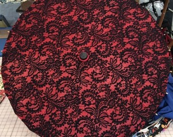 Black Filigree lace on a red parasol