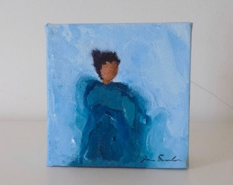 Girl In Blue - Small Original Painting - Stylized Little Girl In Blue