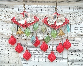 vintage glass strawberry earrings assemblage summer berry fruit upcycled jewelry red