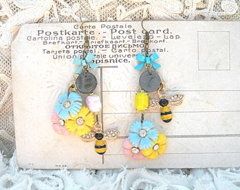 spring flower earrings assemblage upcycled vintage jewelry romantic pink blue yellow floral dangles bumblebee bee