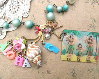 hula Hawaii mermaid necklace assemblage souvenir beach ocean seashore sea cottage jewelry romantic tropical vacation charm