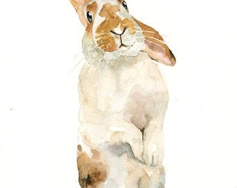 CUSTOM BUNNY PORTRAIT  watercolor painting 8X10inch