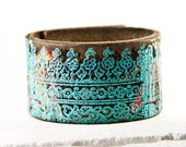 Turquoise & Coral Jewelry, Leather Cuff, Leather Jewelry, Leather Bracelet