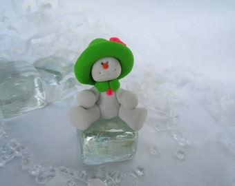 Polymer Clay Miniature Snowman on Ice Cube/ Snowman/ Cyndesminis