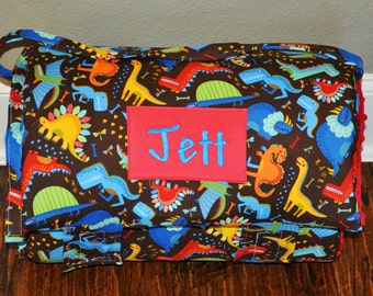 Nap Mat - Monogrammed Jurassic Dinosaur Jamboree on Brown Nap Mat with a Red Minky Dot Blanket