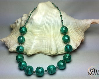 Precious Murano glass Necklace Green Sea color and White Gold