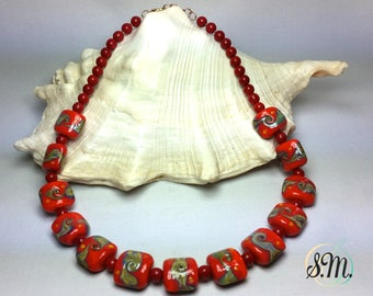 Special Murano glass Necklace Red