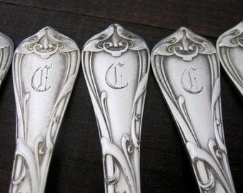 Antique C Monogram Dinner Forks, Modern Art, 1904 by Reed & Barton Silverplate Set of 6 Art Nouveau Flatware