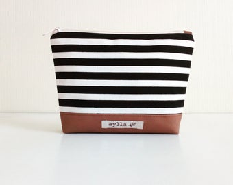 Striped Cosmetic Pouch, Makeup Bag, Canvas Cosmetic Bag, Pencil Pouch, Toiletry Bag,  Zipper Pouch, Pencil Case, Travel Zipper Bag, Cord Bag