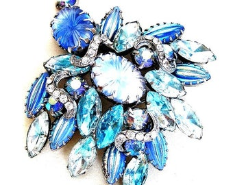 Large Iridescent Blue and Aqua Givre Glass Brooch