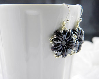 "READY TO SHIP Amethyst and Hematite DiamonDuo Beadweaving Earrings ""Diamonds in Stars"""