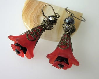 Red and Black Flower Earrings, Red Lucite Flower Earrings, Black Crystal Dangle, Victorian Gothic Dangle Earring, Romantic Fantasy Earrings