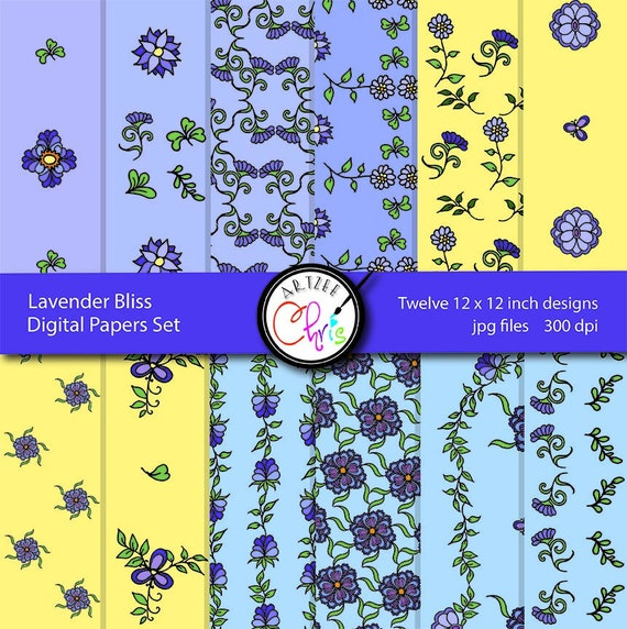 Digital Paper Download Floral Purple Yellow Blue Floral Digital Papers 12 images 12 x 12 inches jpg files 300 dpi