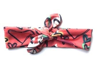 HAPPY HEARTS Headband- Knit Headband - Top Knot Headband - Baby, Toddler, Child
