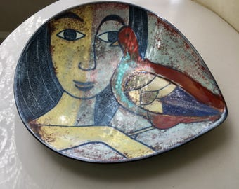 Vintage Michael Andersen Denmark Tear Drop Bowl Plate Hand Painted Woman and Bird