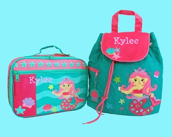 Child's Personalized Stephen Joseph Toddler MERMAID With Pink Hair Backpack and Lunch Box School Set-Monogramming Included