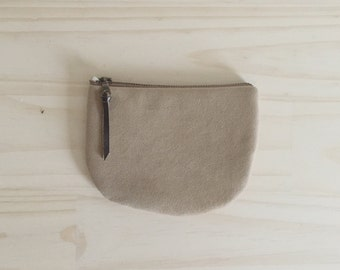 Vegan Zipper Pouch, Tan Coin Purse, Camel