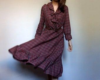 Plaid Dress Women Vintage Red Dress Holiday Dress Ruffle Dress V Neck Dress Long Sleeve Dress - Large to Extra Large L XL