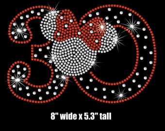 Minnie Mouse 30th Birthday iron on rhinestone transfer your color choice