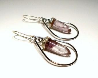Amethyst Quartz Crystal Drop Earrings in Silver Teardrops