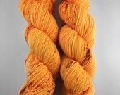 Good Vibrations - (sock) - hand dyed yarn - sock weight - fingering- merino wool - neon orange - semi solid - speckles