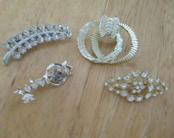 Vintage costume jewelry  / 4 rhinestone brooches
