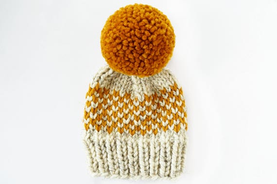 Hat Knitting Pattern // Chunky Pom Pom Hat // Fair Isle Hat
