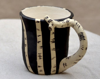 Ceramic Mug. BIRCH TREE . Black and White Stoneware Earthy Mug. Large 12 OZ Cup. Inspired By Nature. Ceramic Pottery. Zen Ceramics.