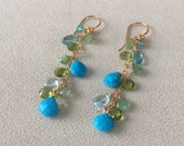 Semiprecious Gemstone Earrings in Gold and Turquoise, Peridot, Chrysoprase, Apatite, Blue Topaz, Moonstone