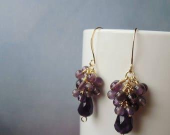 January sale Amethyst gemstone, cluster earrings, gold plated. 3 cm / 1.18'' in