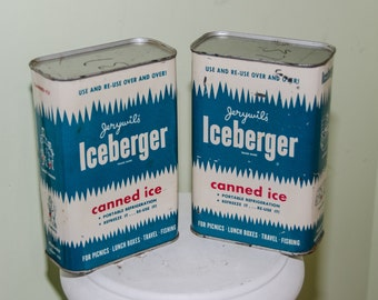 Two Vintage Iceberger QUart Sized Canned Ice