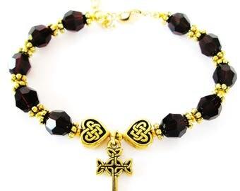 JANUARY  Single Decade Birth Month SWARVOSKI Crystal GARNET Rosary Bracelet-Irish Bracelet