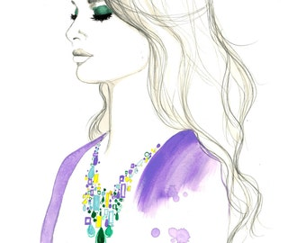 Klimt Necklace, original watercolor and pen fashion illustration by Jessica Durrant