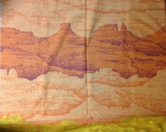 Vintage Twin Flat bed sheet  Desert  Sunset