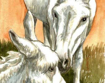 New Mom White Donkey Foal Baby Comfort  LLMartin Original Watercolor  Nursery Country Burro