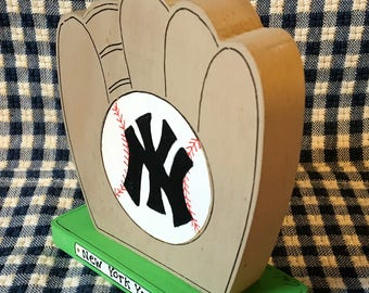 "New York Yankees 4"" - Wooden Baseball Glove - Handmade Wood Figure- Gift for New York Yankee fans"
