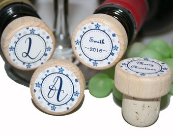 Christmas Wine Stoppers, Personalized Wine Stoppers, Wine Corks, Holiday Wine Stopper, Christmas Wine, Christmas Gift