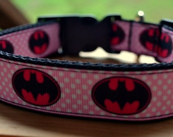 Pink Batman dog collar & or leash