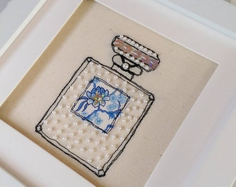 Handmade Perfume Bottle Embroidered Picture. Freehand machine embroidery, beaded and framed. Mother's Day Birthday Gift.