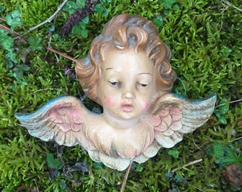 Italian fontanini depose angel cherub head figure