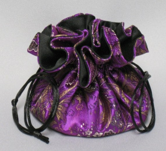Jewelry Drawstring Travel Tote---Purple & Gold Paisley---Satin Brocade Organizer Pouch---Medium Size