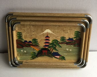 Japan Wood Hand Painted Serving Trays set of 3 Nesting trays Wood Chrome