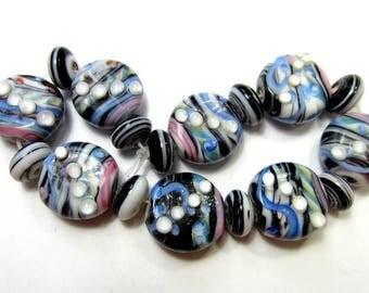 17 Lampwork beads lenitl black blue pink  handmade lampwork beads handmade glass stripe beads (SB2)