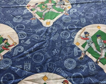 Vintage MLB Baseball Teams TWIN FLAT Sheet - Reclaimed Bed Linens