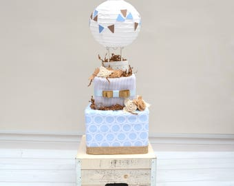 Hot Air Balloon Baby Shower, Unique Baby Shower Gift, Burlap Baby Shower Decor, Blue Burlap Shower, Up and Away Baby Shower, Boy Baby Gift