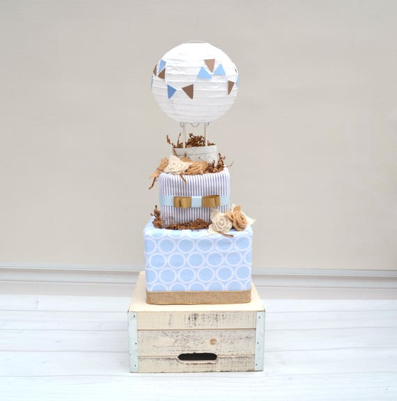 Up and Away Baby Cake - Burlap and Blue