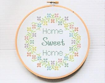 Modern Needlework - Cross Stitch - Home Sweet Home - Stitchery designs - Needle Art Pattern -